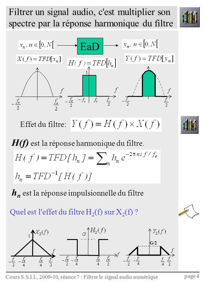 Cours S.S.I.I., 2009-10, séance 7 : Filtrer le signal audio numérique page 4 Filtrer un signal audio, c'est multiplier son spectre par la réponse harm