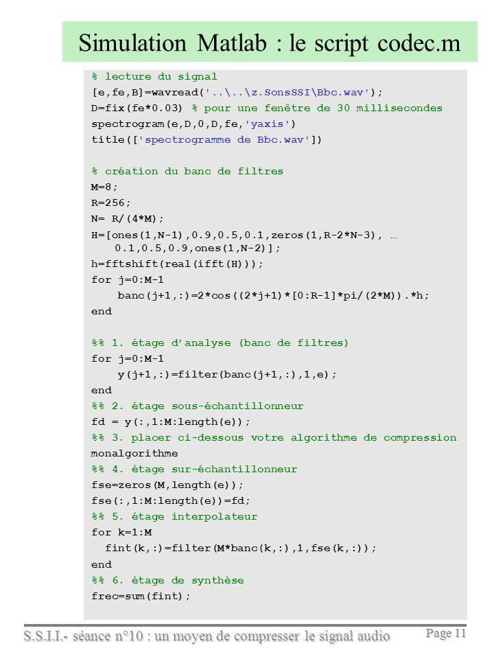 S.S.I.I.- séance n°10 : un moyen de compresser le signal audio Page 11 Simulation Matlab : le script codec.m % lecture du signal [e,fe,B]=wavread('..\