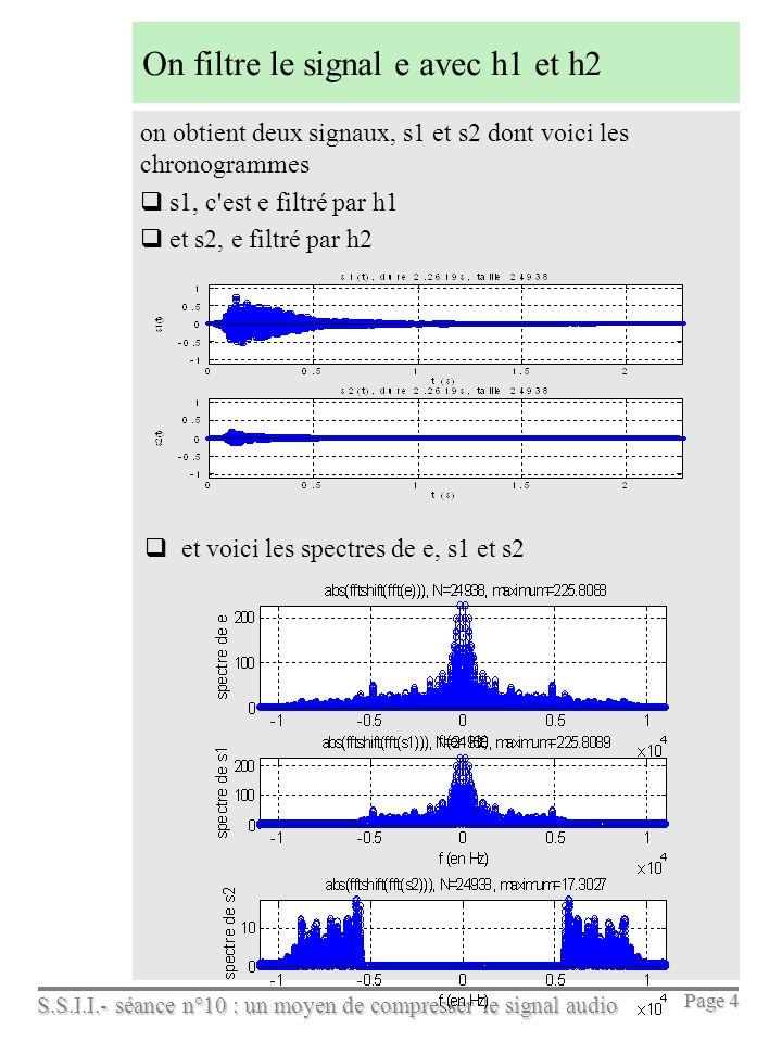 S.S.I.I.- séance n°10 : un moyen de compresser le signal audio Page 4 On filtre le signal e avec h1 et h2 on obtient deux signaux, s1 et s2 dont voici