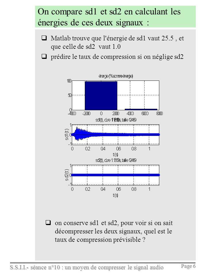 S.S.I.I.- séance n°10 : un moyen de compresser le signal audio Page 6 On compare sd1 et sd2 en calculant les énergies de ces deux signaux : Matlab tro