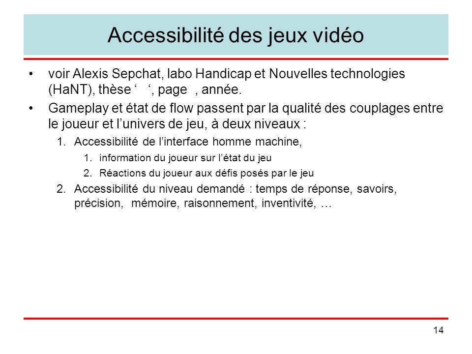 14 Accessibilité des jeux vidéo voir Alexis Sepchat, labo Handicap et Nouvelles technologies (HaNT), thèse, page, année. Gameplay et état de flow pass