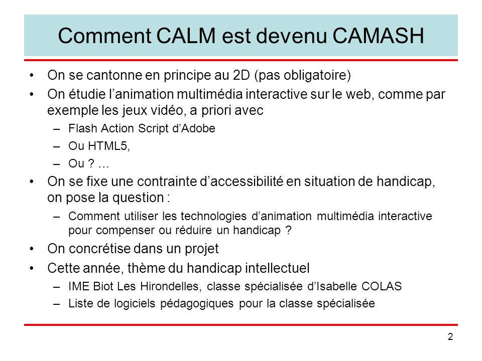 2 Comment CALM est devenu CAMASH On se cantonne en principe au 2D (pas obligatoire) On étudie lanimation multimédia interactive sur le web, comme par