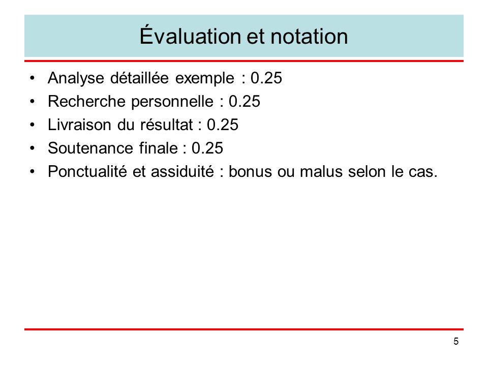 5 Évaluation et notation Analyse détaillée exemple : 0.25 Recherche personnelle : 0.25 Livraison du résultat : 0.25 Soutenance finale : 0.25 Ponctuali