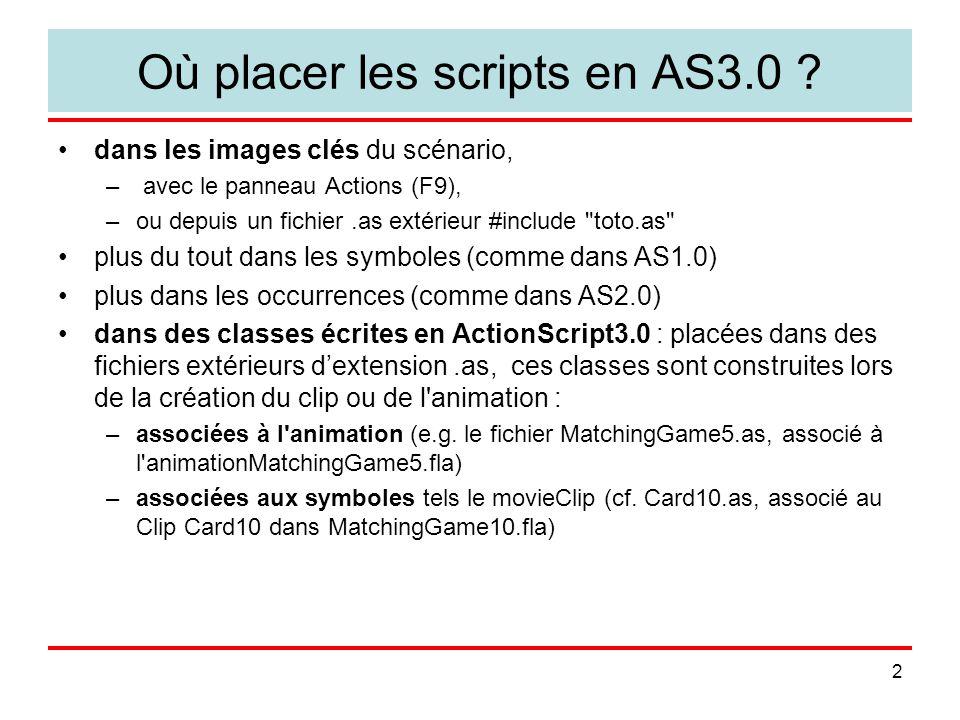 13 Détecter les collisions (CollisionDetection.fla) addEventListener(Event.ENTER_FRAME, checkCollision); function checkCollision(event:Event) { // check the cursor location against the crescent if (crescent.hitTestPoint(mouseX, mouseY, true)) { messageText1.text = hitTestPoint: YES ; } else { messageText1.text = hitTestPoint: NO ; } // move star with mouse star.x = mouseX; star.y = mouseY; // test star versus crescent if (star.hitTestObject(crescent)) { messageText2.text = hitTestObject: YES ; } else { messageText2.text = hitTestObject: NO ; }