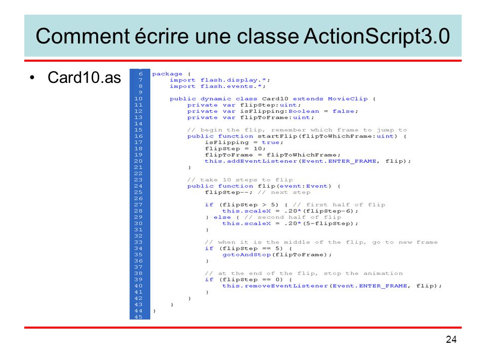 24 Comment écrire une classe ActionScript3.0 Card10.as