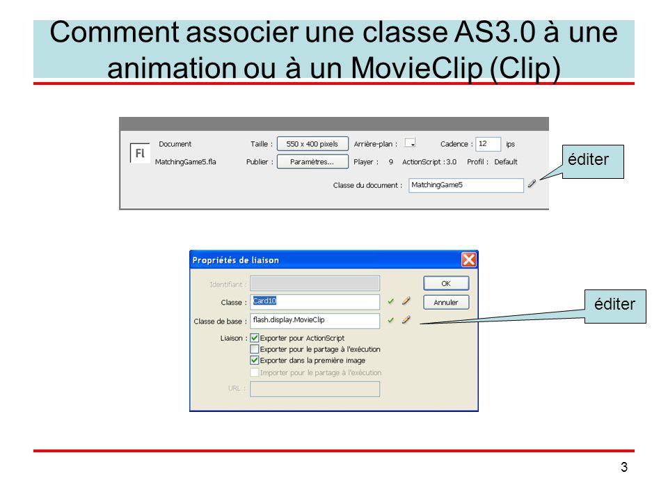 4 les types en ActionScript3.0 vous pouvez utiliser les types de base comme suit : –var nom:type= valeur; Number int, uint Boolean String vous pouvez créer des instances des symboles et classes fournis –var monClip:MovieClip=new MovieClip(); –SimpleButton –TextField –Timer, Sprite, Sound … vous pouvez créer des instances (occurrences) des symboles que vous avez définis sous la condition de les avoir exportés pour ActionScript (panneaux Liaisons ou Propriétés): –var c:Card10 = new Card10(); // cf.