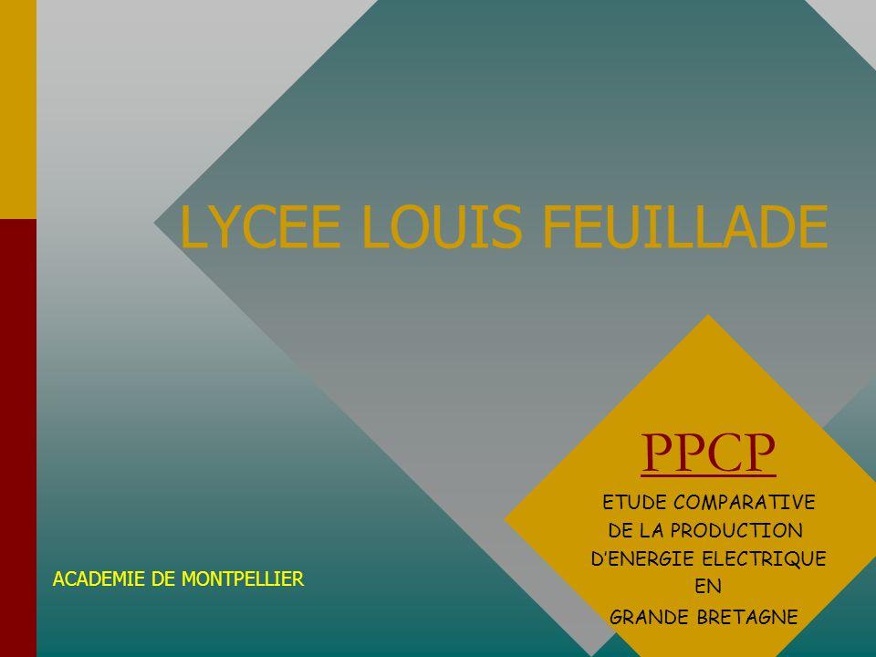 LYCEE LOUIS FEUILLADE PPCP ETUDE COMPARATIVE DE LA PRODUCTION DENERGIE ELECTRIQUE EN GRANDE BRETAGNE ACADEMIE DE MONTPELLIER