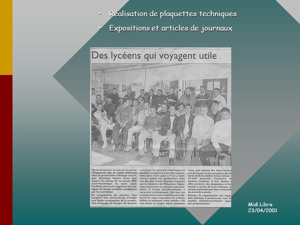 Réalisation de plaquettes techniquesRéalisation de plaquettes techniques Expositions et articles de journauxExpositions et articles de journaux Midi Libre 23/04/2001