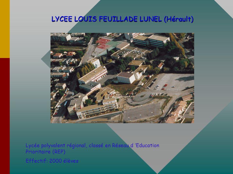 LYCEE LOUIS FEUILLADE LUNEL (Hérault) LYCEE LOUIS FEUILLADE LUNEL (Hérault) Lycée polyvalent régional, classé en Réseau d Education Prioritaire (REP) Effectif: 2000 élèves