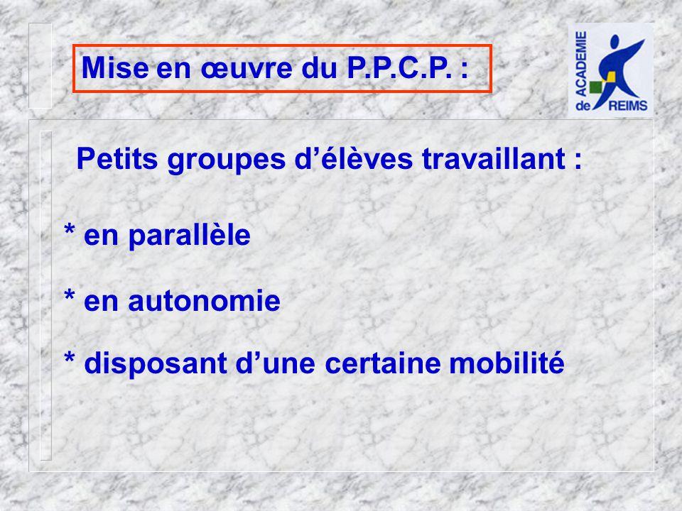 Mise en œuvre du P.P.C.P.
