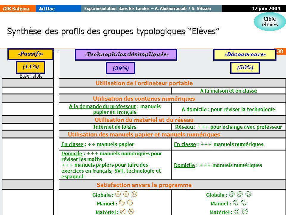 GfK SofemaAd Hoc Expérimentation dans les Landes – A. Abdourraquib / S. Nilsson © GfK 38 17 juin 2004 Synthèse des proflls des groupes typologiques El