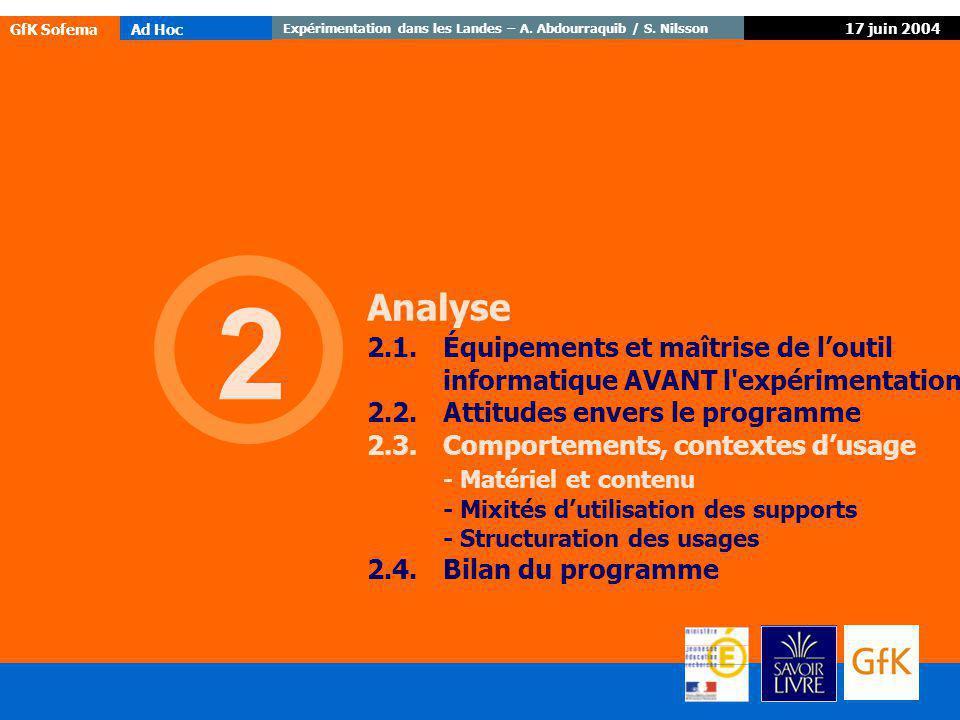 Expérimentation dans les Landes – A. Abdourraquib / S. Nilsson GfK SofemaAd Hoc 17 juin 2004 2 Analyse 2.1.Équipements et maîtrise de loutil informati