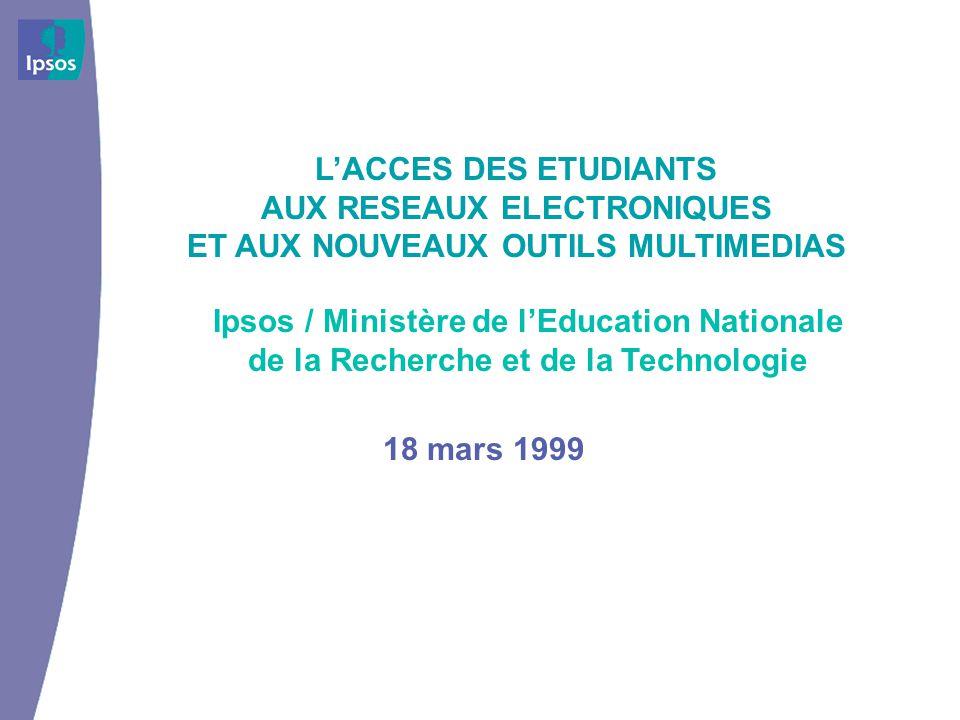 LACCES DES ETUDIANTS AUX RESEAUX ELECTRONIQUES ET AUX NOUVEAUX OUTILS MULTIMEDIAS Ipsos / Ministère de lEducation Nationale de la Recherche et de la Technologie 18 mars 1999
