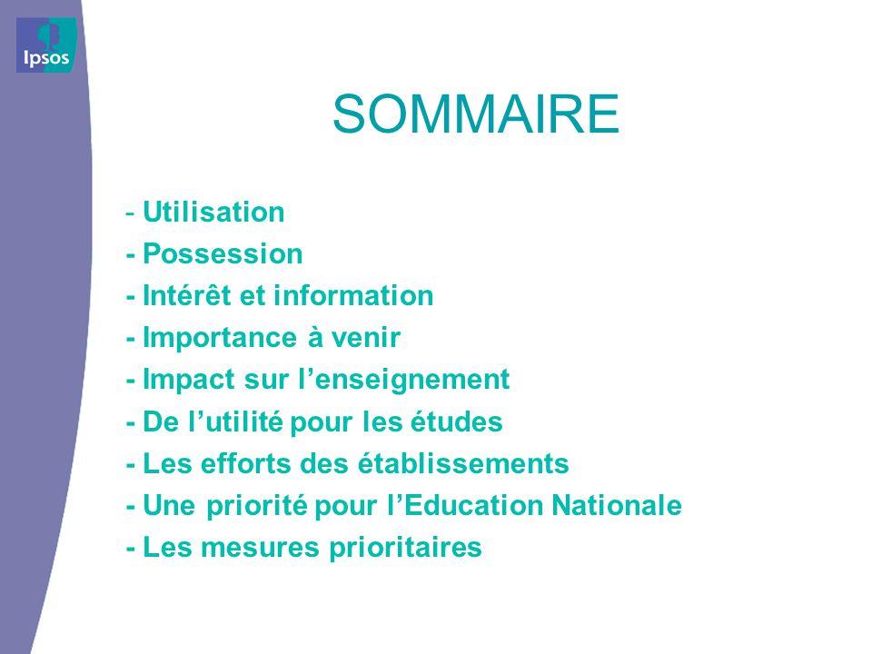 SOMMAIRE - Utilisation - Possession - Intérêt et information - Importance à venir - Impact sur lenseignement - De lutilité pour les études - Les efforts des établissements - Une priorité pour lEducation Nationale - Les mesures prioritaires