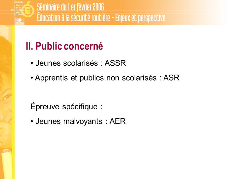 II. Public concerné Jeunes scolarisés : ASSR Apprentis et publics non scolarisés : ASR Épreuve spécifique : Jeunes malvoyants : AER