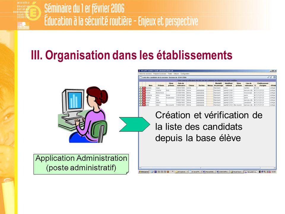 Application Administration (poste administratif) Création et vérification de la liste des candidats depuis la base élève III.