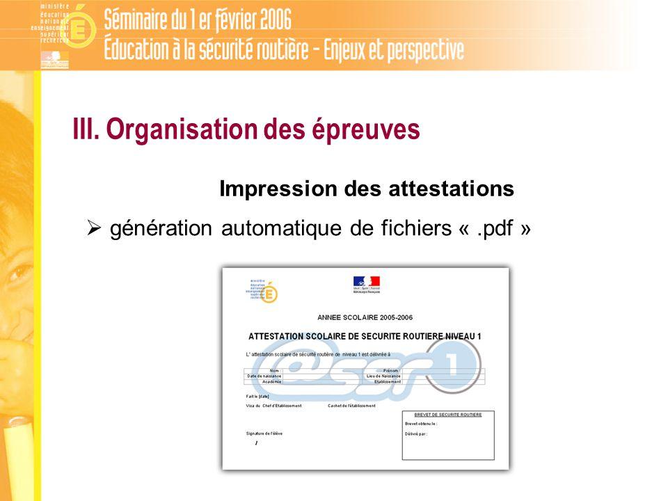 Impression des attestations III. Organisation des épreuves génération automatique de fichiers «.pdf »