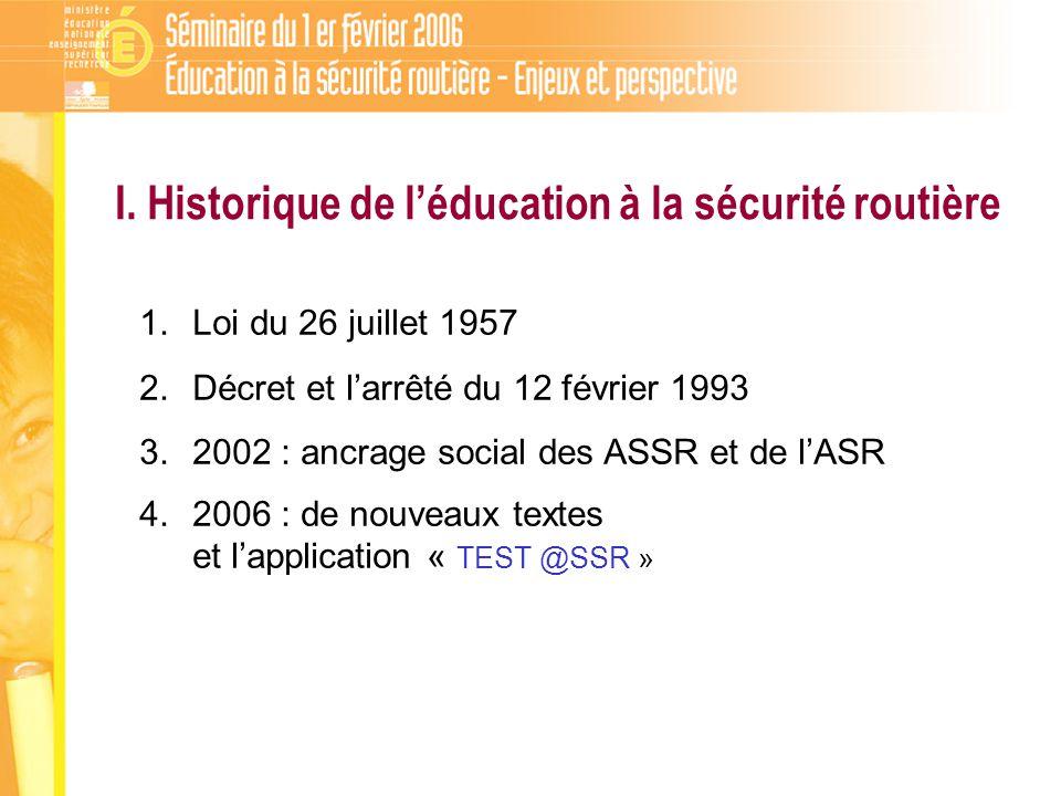 I. Historique de léducation à la sécurité routière 1.Loi du 26 juillet 1957 2.Décret et larrêté du 12 février 1993 3.2002 : ancrage social des ASSR et