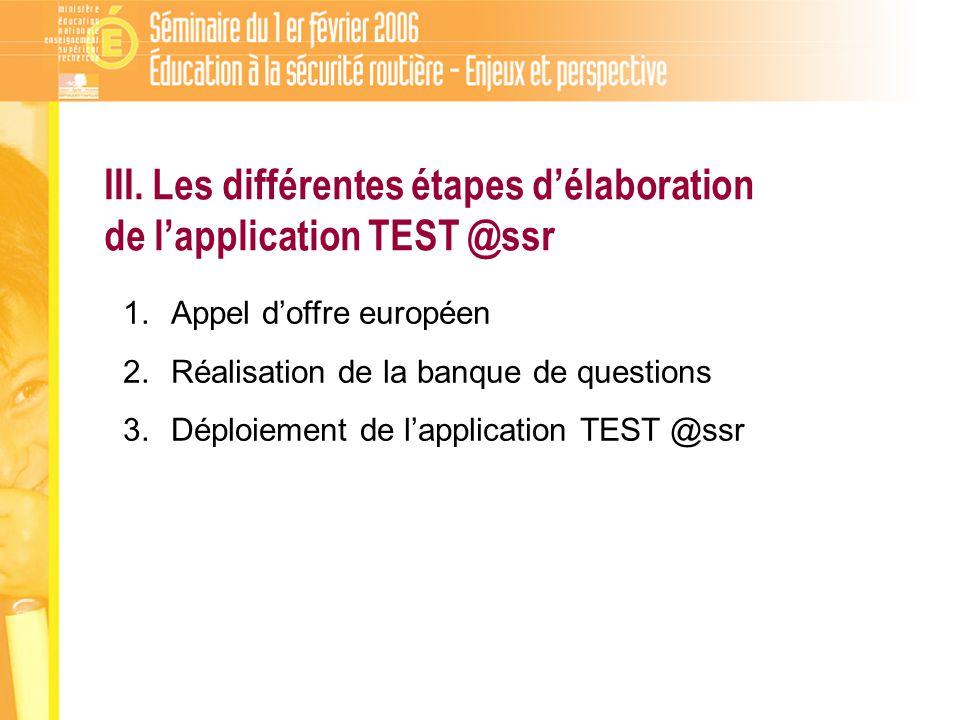 III. Les différentes étapes délaboration de lapplication TEST @ssr 1.Appel doffre européen 2.Réalisation de la banque de questions 3.Déploiement de la