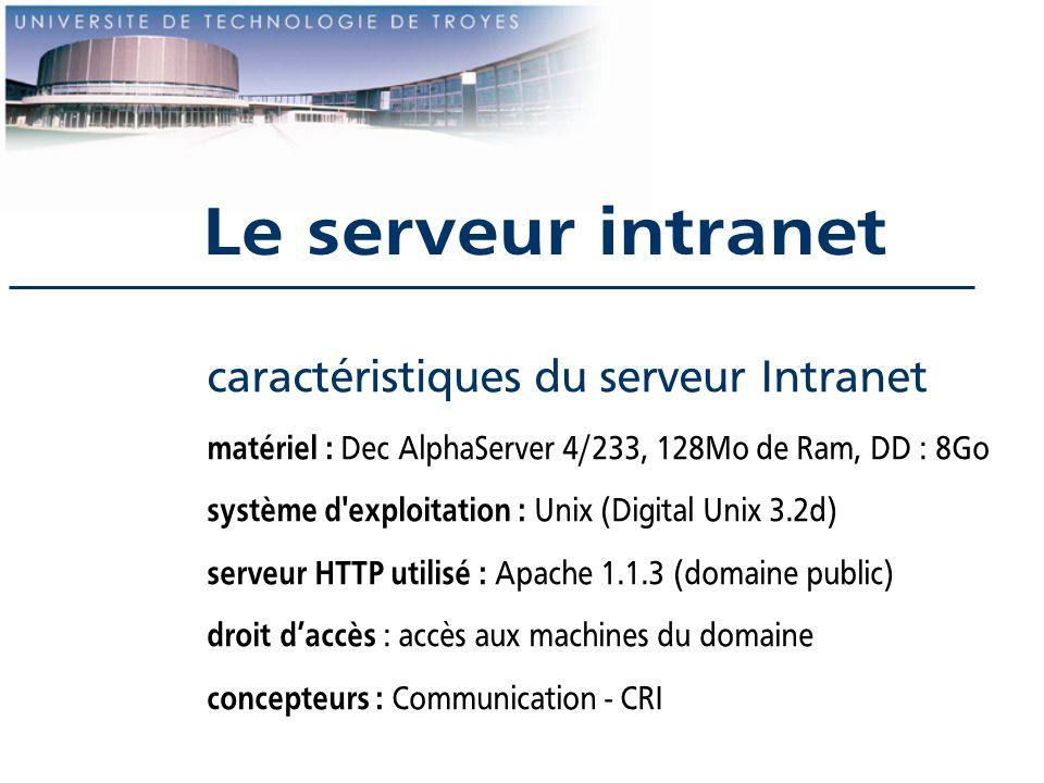 Le serveur intranet caractéristiques du serveur Intranet matériel : Dec AlphaServer 4/233, 128Mo de Ram, DD : 8Go système d'exploitation : Unix (Digit