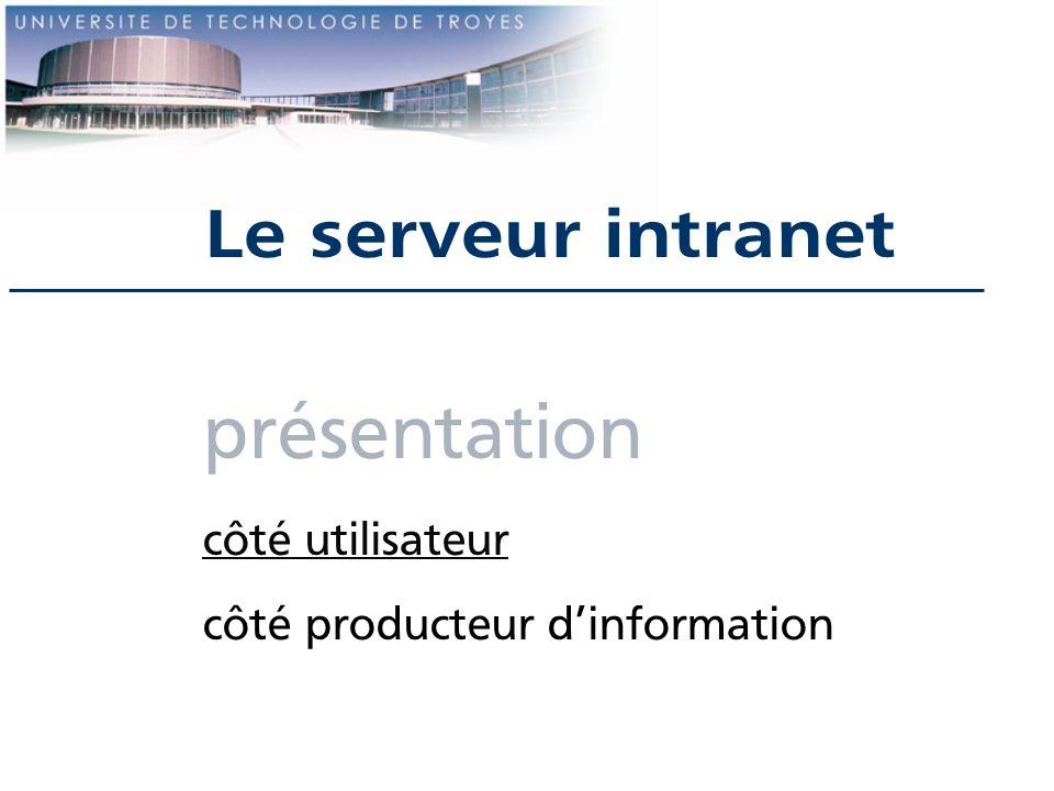 présentation côté utilisateur côté producteur dinformation Le serveur intranet