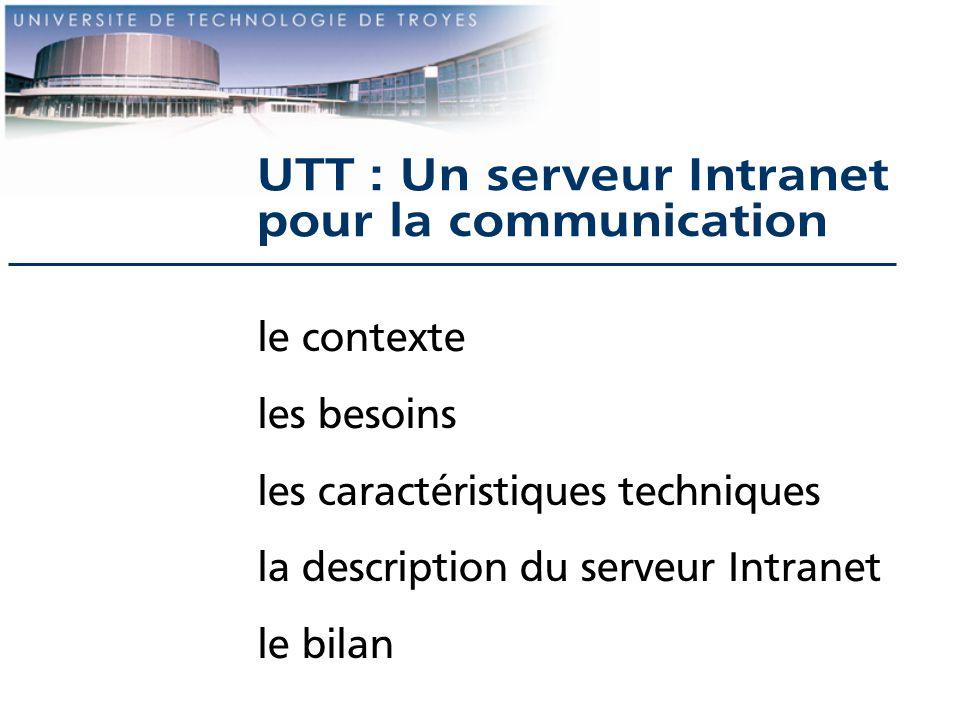 Le serveur intranet caractéristiques du serveur Intranet matériel : Dec AlphaServer 4/233, 128Mo de Ram, DD : 8Go système d exploitation : Unix (Digital Unix 3.2d) serveur HTTP utilisé : Apache 1.1.3 (domaine public) droit daccès : accès aux machines du domaine concepteurs : Communication - CRI