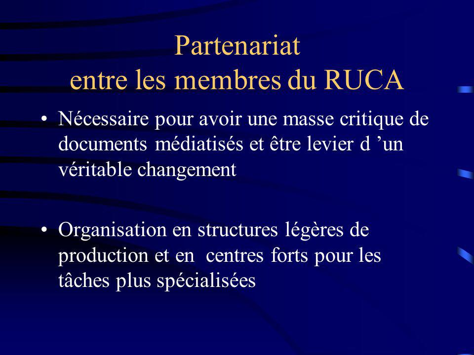 Partenariat entre les membres du RUCA Nécessaire pour avoir une masse critique de documents médiatisés et être levier d un véritable changement Organisation en structures légères de production et en centres forts pour les tâches plus spécialisées