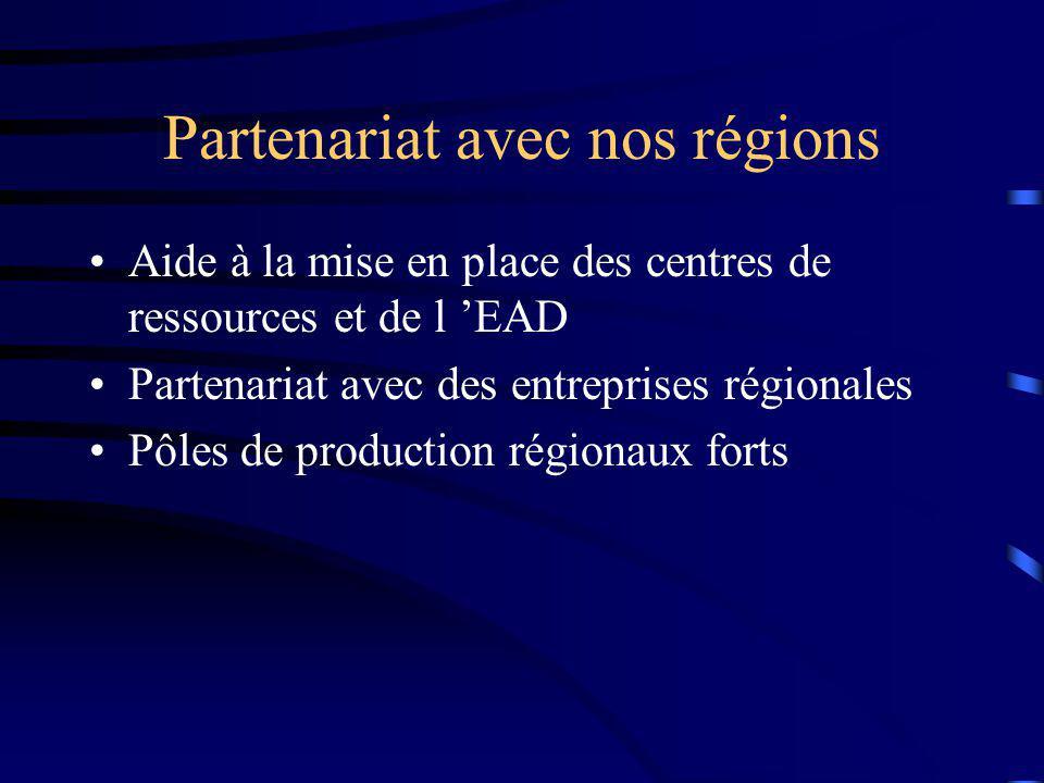 Partenariat avec nos régions Aide à la mise en place des centres de ressources et de l EAD Partenariat avec des entreprises régionales Pôles de production régionaux forts