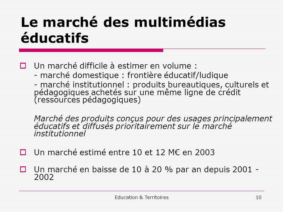 Education & Territoires10 Le marché des multimédias éducatifs Un marché difficile à estimer en volume : - marché domestique : frontière éducatif/ludiq