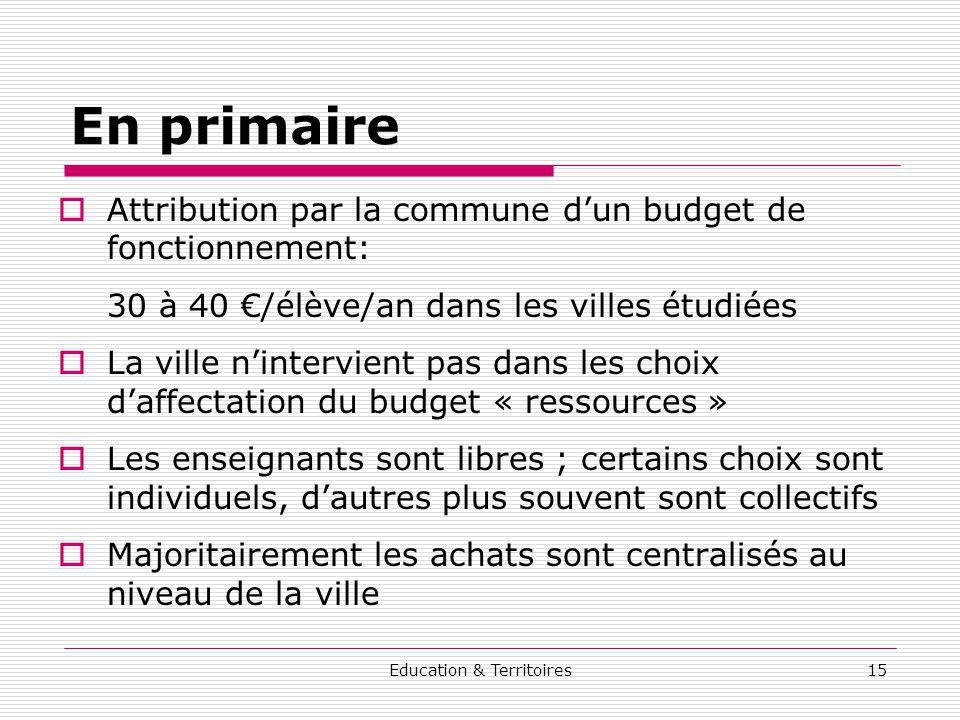 Education & Territoires15 En primaire Attribution par la commune dun budget de fonctionnement: 30 à 40 /élève/an dans les villes étudiées La ville nin