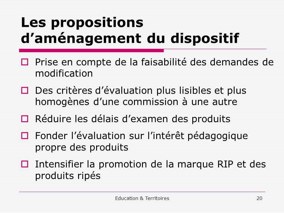 Education & Territoires20 Les propositions daménagement du dispositif Prise en compte de la faisabilité des demandes de modification Des critères déva