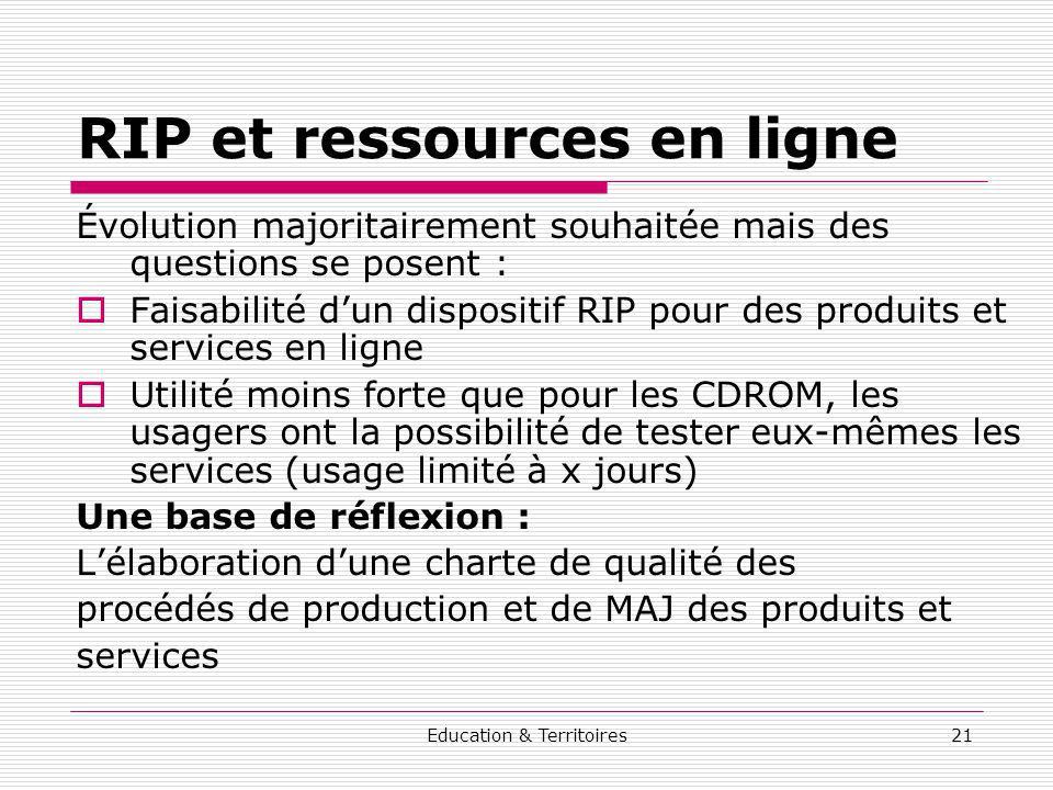 Education & Territoires21 RIP et ressources en ligne Évolution majoritairement souhaitée mais des questions se posent : Faisabilité dun dispositif RIP
