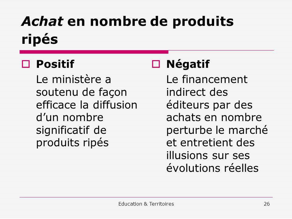 Education & Territoires26 Achat en nombre de produits ripés Positif Le ministère a soutenu de façon efficace la diffusion dun nombre significatif de p