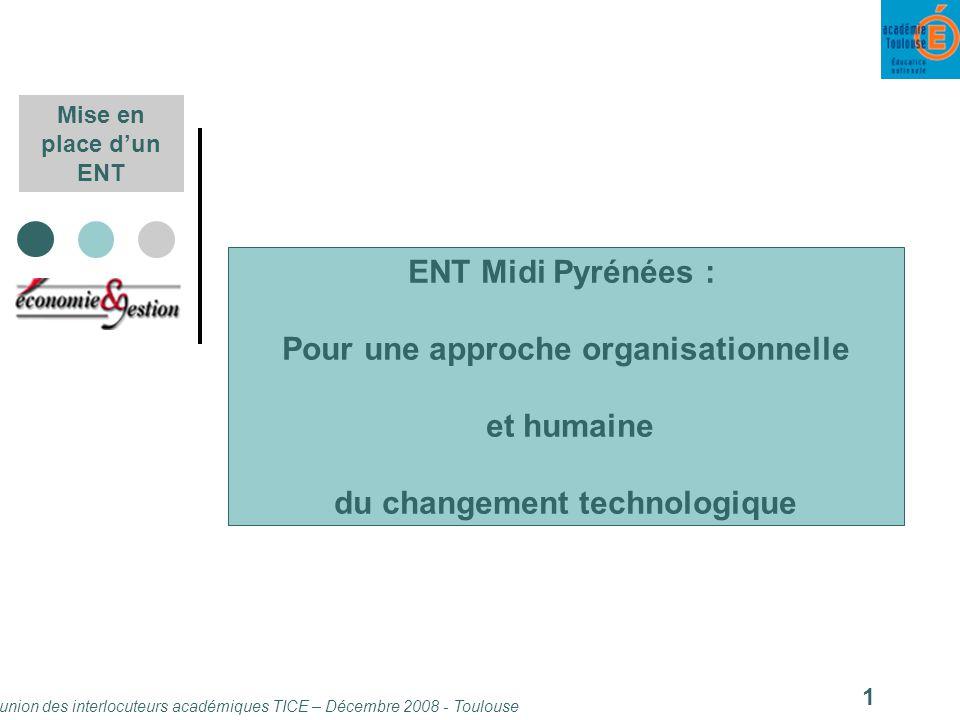 Réunion des interlocuteurs académiques TICE – Décembre 2008 - Toulouse 1 Mise en place dun ENT ENT Midi Pyrénées : Pour une approche organisationnelle et humaine du changement technologique