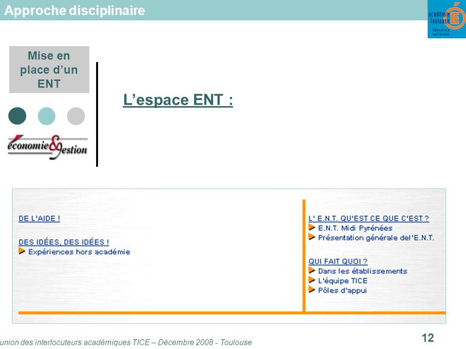 Réunion des interlocuteurs académiques TICE – Décembre 2008 - Toulouse 12 Mise en place dun ENT Lespace ENT : Approche disciplinaire