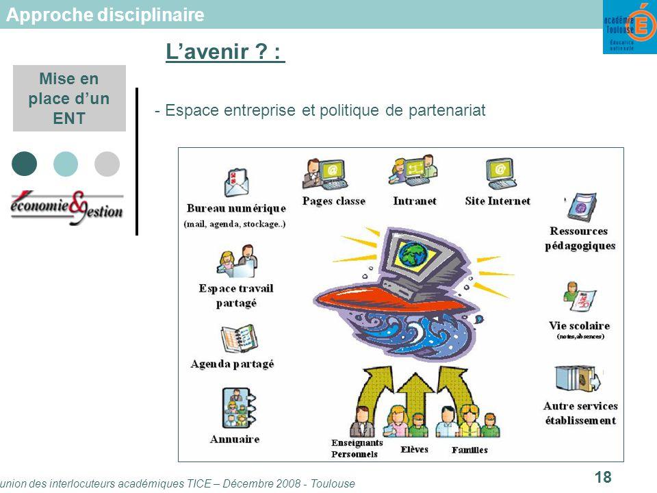 Réunion des interlocuteurs académiques TICE – Décembre 2008 - Toulouse 18 Mise en place dun ENT - Espace entreprise et politique de partenariat Lavenir .