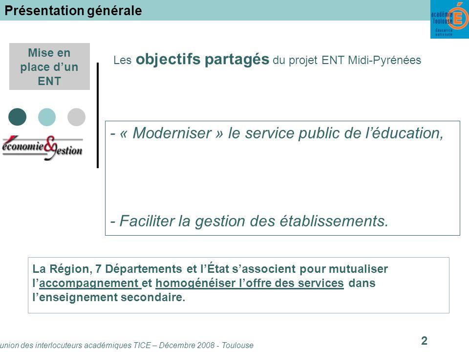 Réunion des interlocuteurs académiques TICE – Décembre 2008 - Toulouse 13 Mise en place dun ENT Lespace ENT : rubriques « des idées .