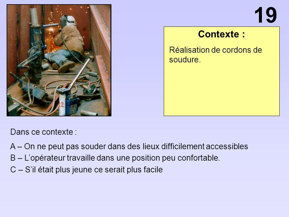 Contexte : Dans ce contexte : A – On ne peut pas souder dans des lieux difficilement accessibles B – Lopérateur travaille dans une position peu confor