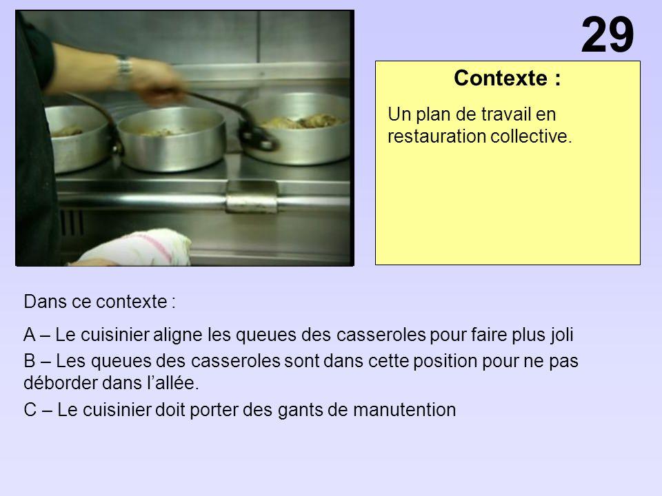 Contexte : Dans ce contexte : A – Le cuisinier aligne les queues des casseroles pour faire plus joli B – Les queues des casseroles sont dans cette pos