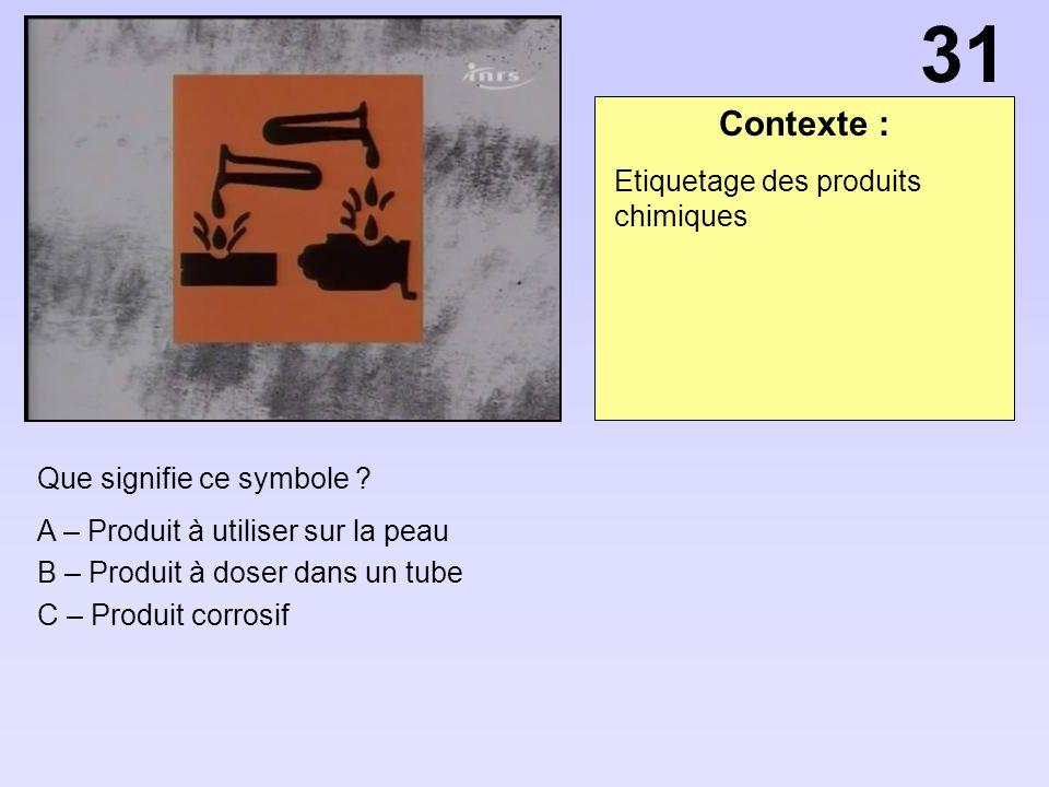 Contexte : Que signifie ce symbole ? A – Produit à utiliser sur la peau B – Produit à doser dans un tube C – Produit corrosif Etiquetage des produits