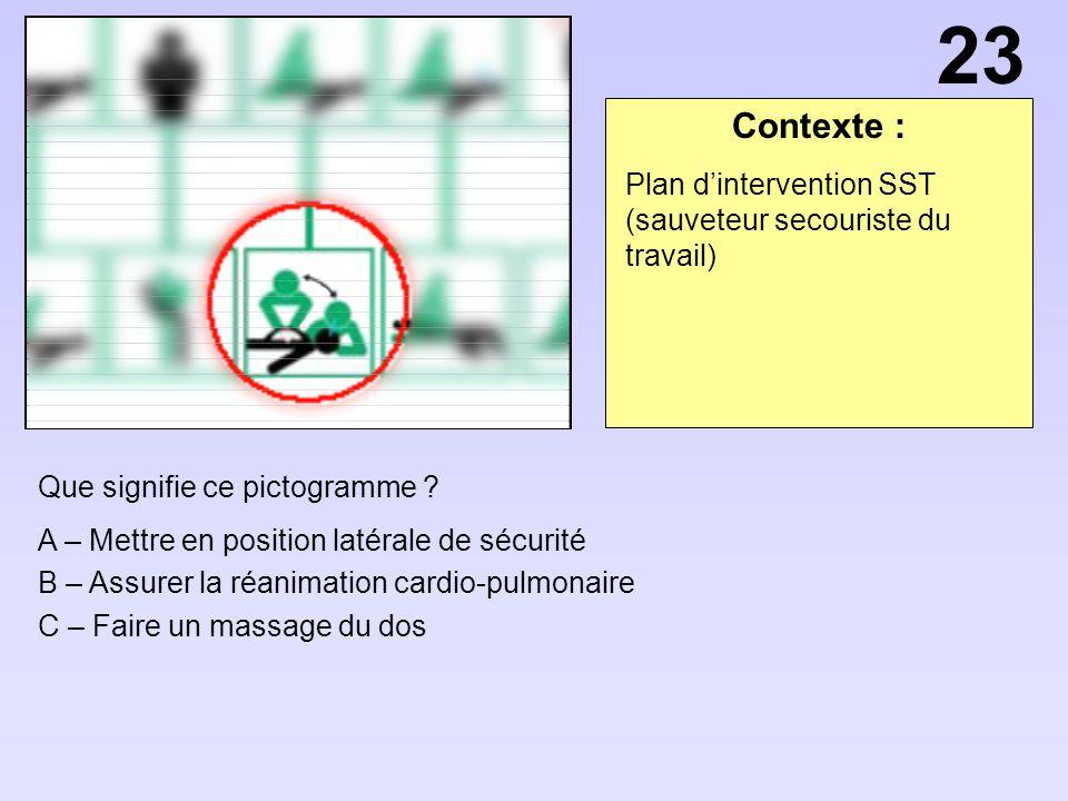 Contexte : Que signifie ce pictogramme ? A – Mettre en position latérale de sécurité B – Assurer la réanimation cardio-pulmonaire C – Faire un massage