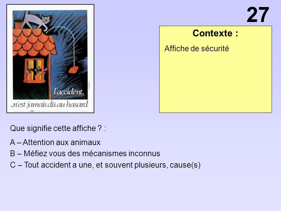 Contexte : Que signifie cette affiche ? : A – Attention aux animaux B – Méfiez vous des mécanismes inconnus C – Tout accident a une, et souvent plusie