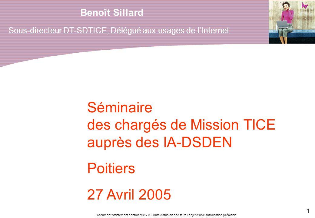 Document strictement confidentiel - © Toute diffusion doit faire lobjet dune autorisation préalable 1 Benoît Sillard Séminaire des chargés de Mission