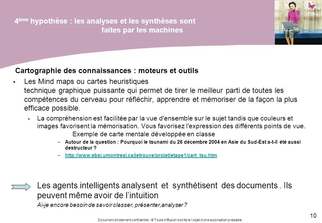 Document strictement confidentiel - © Toute diffusion doit faire lobjet dune autorisation préalable 10 4 ème hypothèse : les analyses et les synthèses