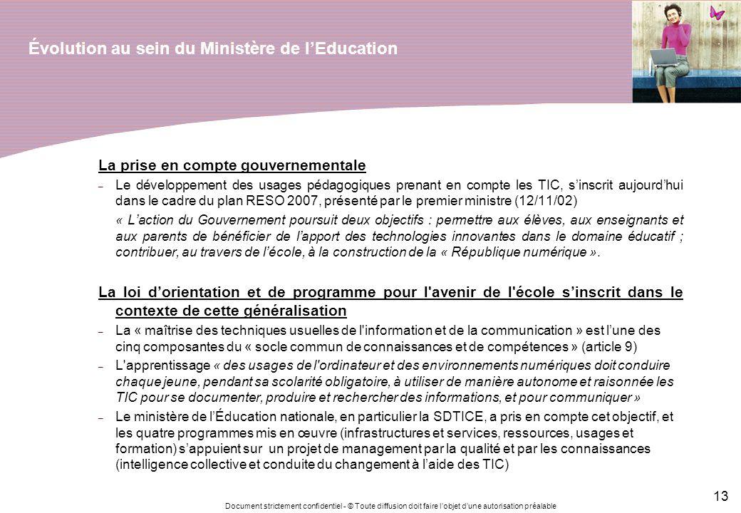 Document strictement confidentiel - © Toute diffusion doit faire lobjet dune autorisation préalable 13 Évolution au sein du Ministère de lEducation La