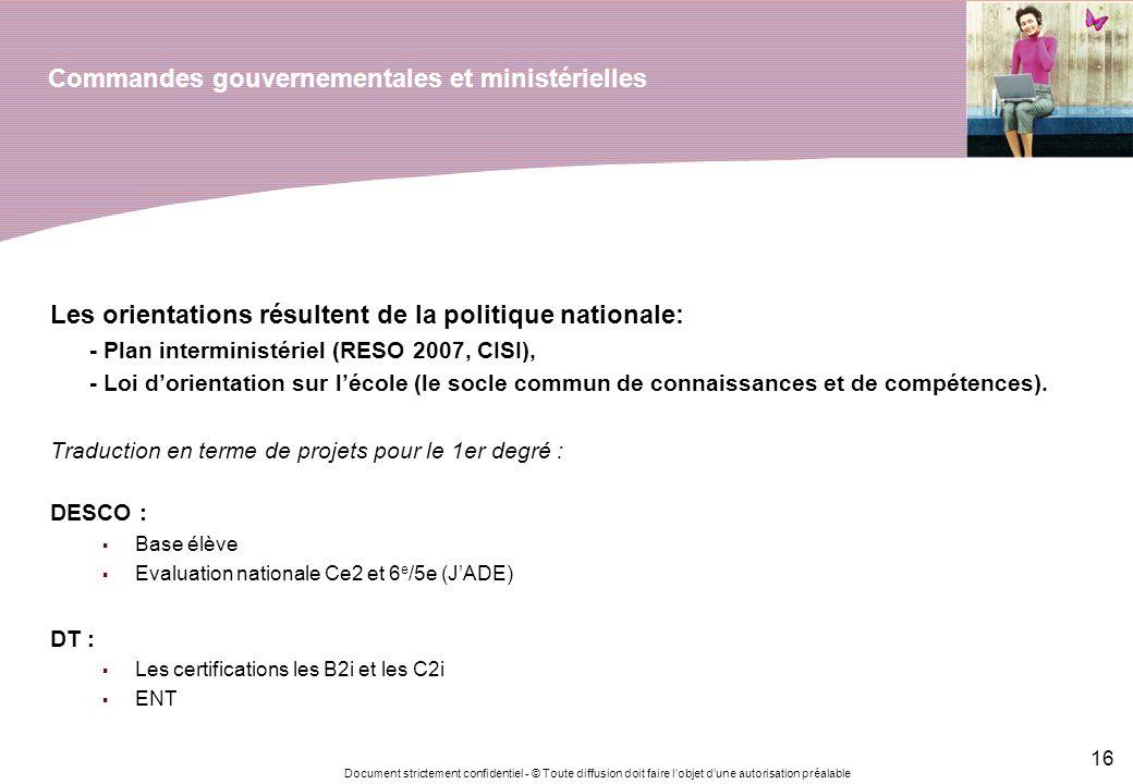 Document strictement confidentiel - © Toute diffusion doit faire lobjet dune autorisation préalable 16 Commandes gouvernementales et ministérielles Le