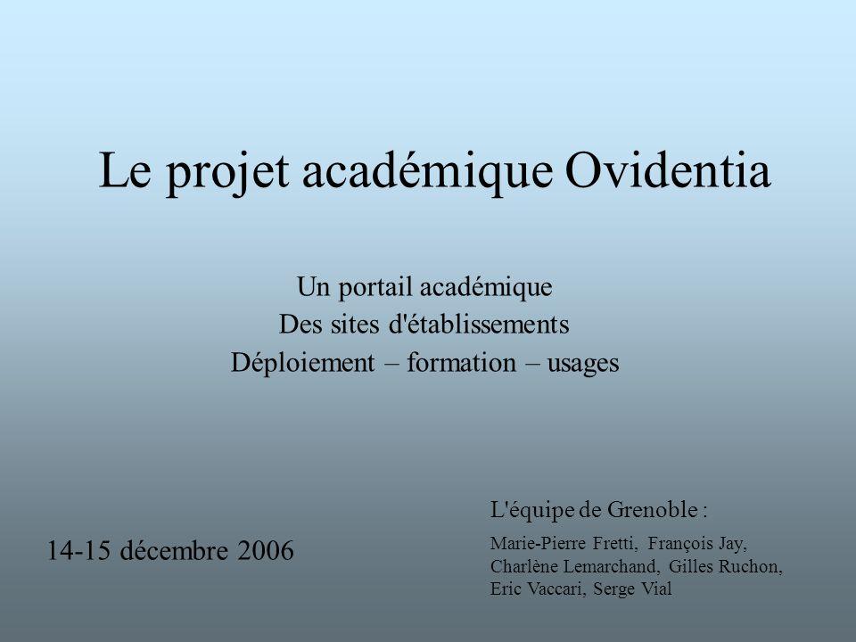Le projet académique Ovidentia Un portail académique Des sites d'établissements Déploiement – formation – usages L'équipe de Grenoble : Marie-Pierre F