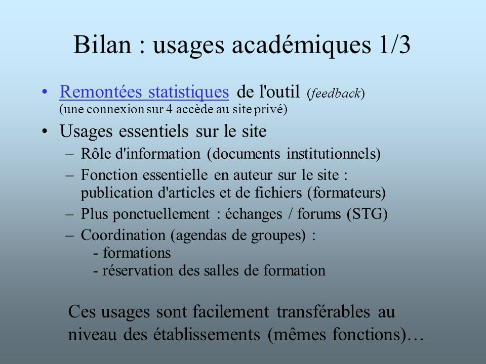 Bilan : usages académiques 1/3 Remontées statistiques de l'outil (feedback) (une connexion sur 4 accède au site privé) Usages essentiels sur le site –