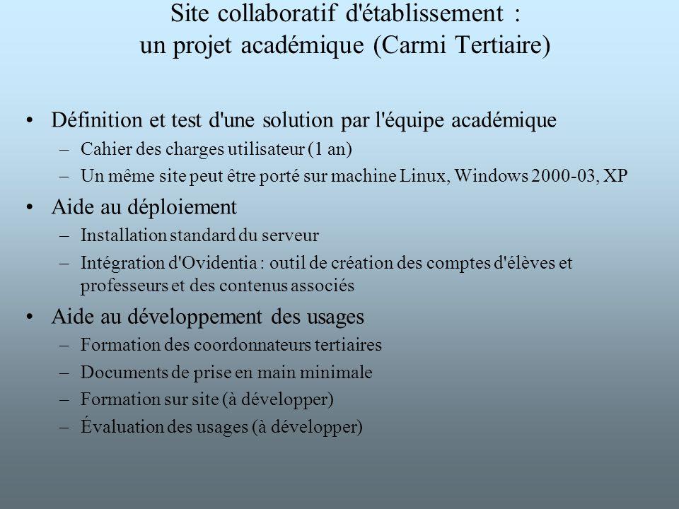 Site collaboratif d'établissement : un projet académique (Carmi Tertiaire) Définition et test d'une solution par l'équipe académique –Cahier des charg