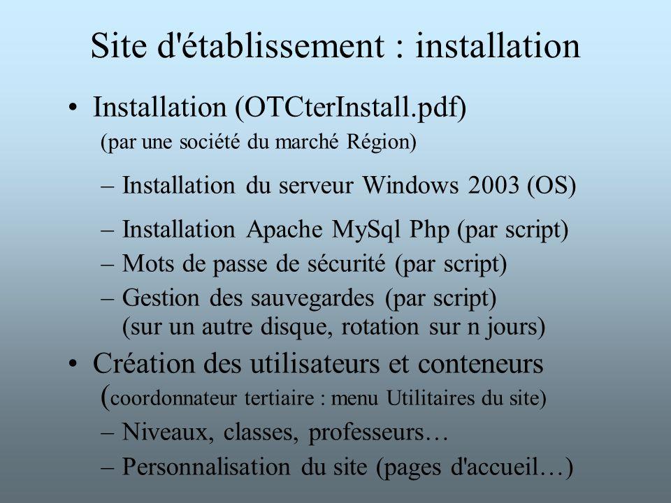Site d'établissement : installation Installation (OTCterInstall.pdf) (par une société du marché Région) –Installation du serveur Windows 2003 (OS) –In